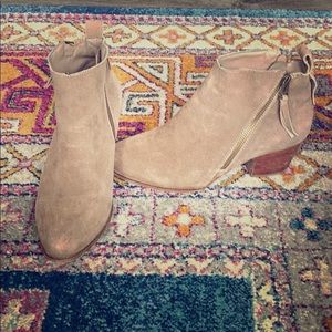 Suede Taupe Booties Ankle Boots Mira